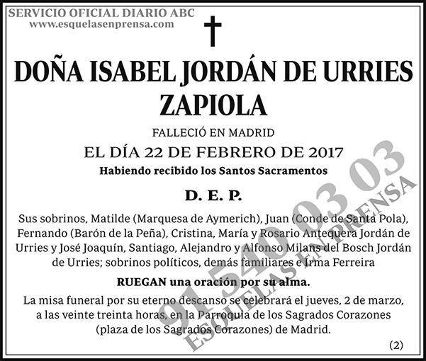 Isabel Jordán de Urries Zapiola